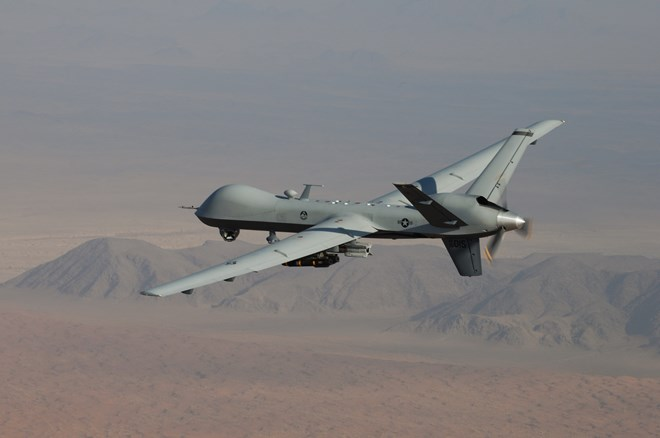 MQ-9 Reaper armed with GBU-12 Paveway II laser guided munitions and AGM-114 Hellfire missiles Credit - USAF