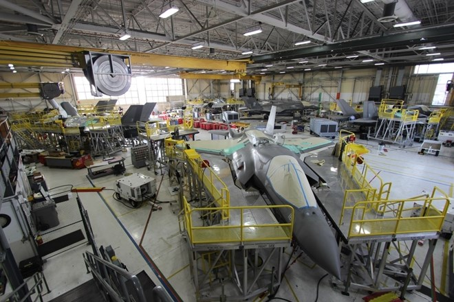 Depot-level maintenance on the F-35B at Fleet Readiness Center East at Marine Corps Air Station Cherry Point North Carolina
