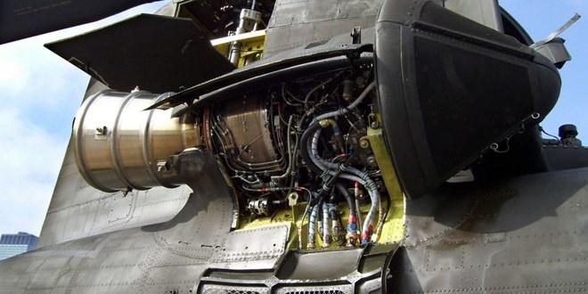 T55 engine on Chinook side view c Honeywell