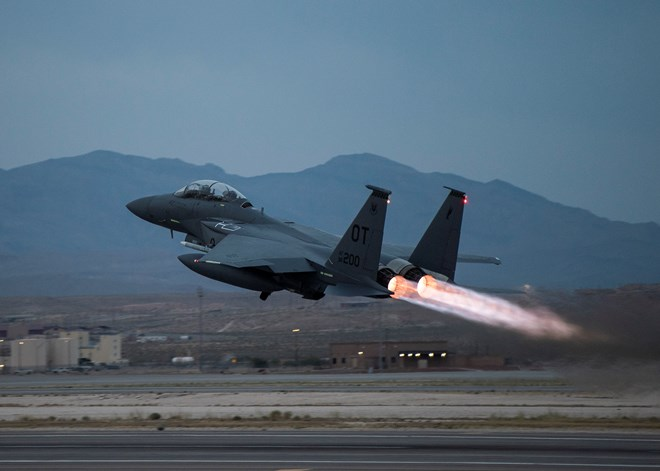 F-15E Strike Eagle takes off from Nellis Air Force Base in Nevada c US Air Force