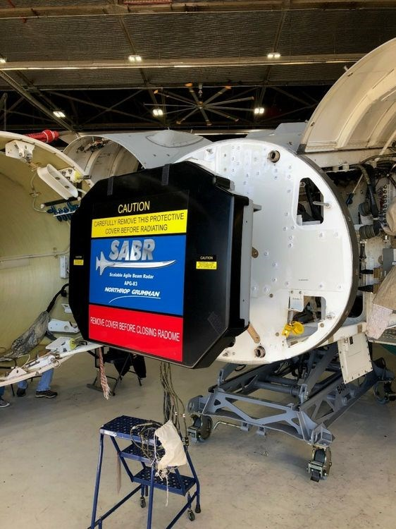 Northrop Grumman's APG-83 radar being installed in an Air National Guard's F-16 at Joint Base Andrews Maryland