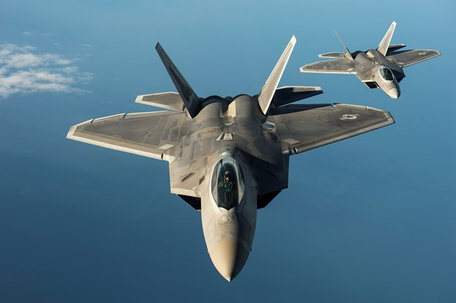 Two US Air Force F-22 Raptors fly over the Baltic Sea c USAF
