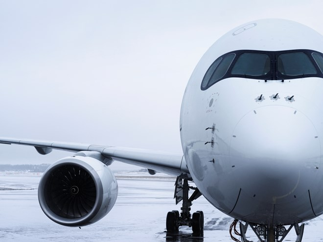 Finnair Airbus A350 detail nose and wing