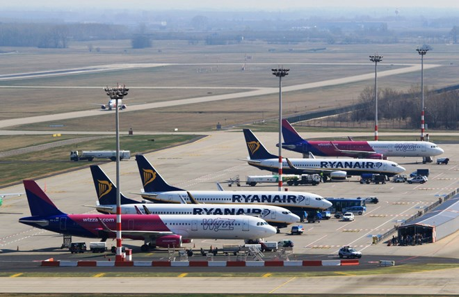 Ryanair Wizz aircraft at Budapest