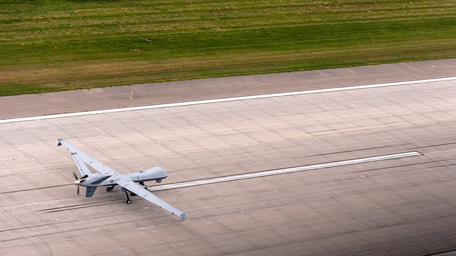 MQ-9 Reaper of the Arizona Air National Guard lands at the Alpena Combat Readiness Training Center in Alpena Mich c USAF