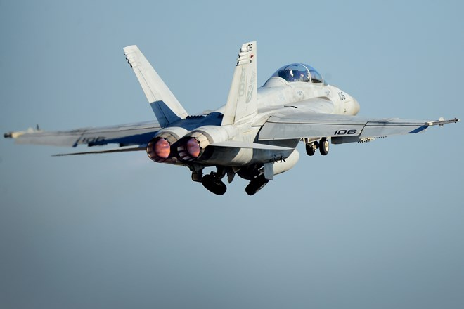 US Navy FA-18F Super Hornet launches from Royal Air Force Lakenheath England c USN