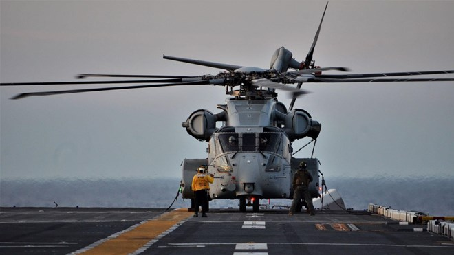 CH-53K King Stallion prepares to take off from the deck of the USS Wasp