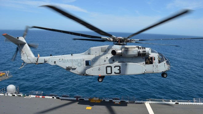 CH-53K King Stallion takes off from the USS Wasp (LHD) for a launch and recovery test as part of sea trials