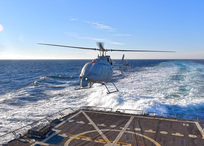 Northrop Grumman MQ-8C Fire Scout lands on guided-missile destroyer USS Jason Dunham via Northrop Grumman