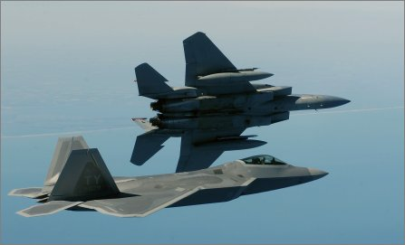 F-22 and F-15s USAF W445