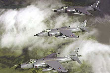 Sea Harrier three tandem W445