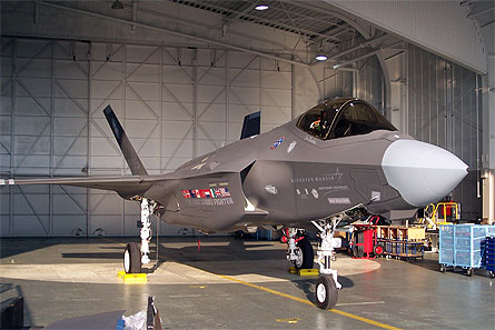 F-35 roll-out in hanger w445