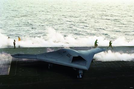 X-47B on deck
