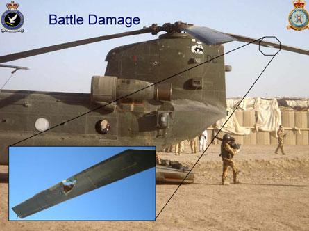 RAF Chinook damage - Crown Copyright
