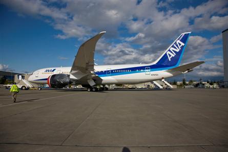 ANA 787  closer hangar