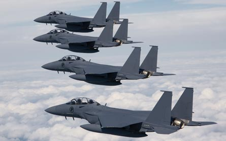 F-15s in group formation, ©Kevin Flynn, Boeing