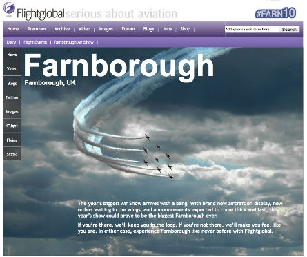 Farnborough front page screengrab