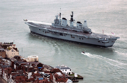 Ark Royal leaves Pompey - Rex Features