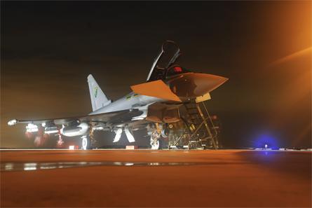 RAF Typhoon Italy night - Crown Copyright