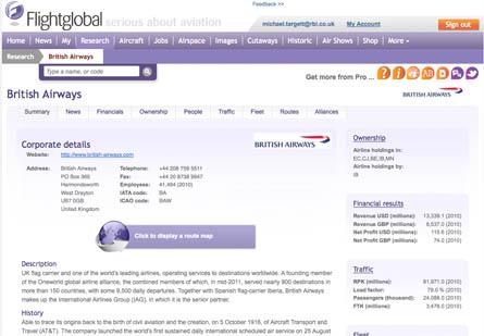 British Airways profile screen grab