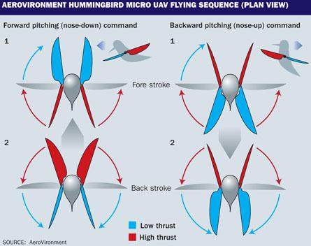 Hummingbird micro UAV flight sequence