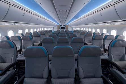 Boeing 787 economy interior,