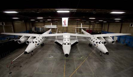 SpaceShipTwo mounted to WhiteKnightTwo carrier veh