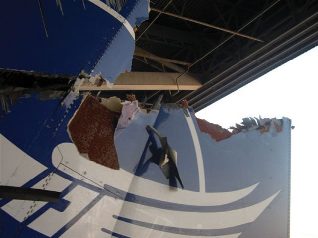 Syrian Arab Airlines A320 tail damage