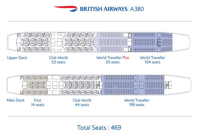 BA A380 seat plans