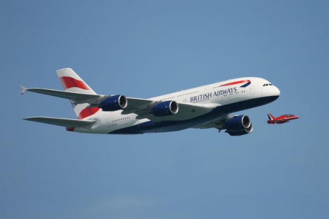 BA A380 Red Arrow flying
