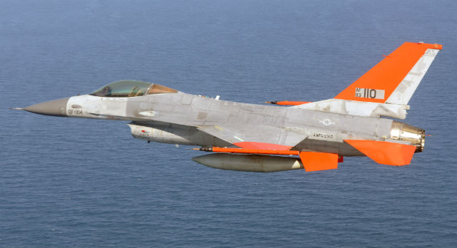 QF-16 over water - USAF