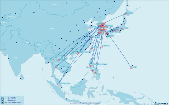 LCC routes out of Seoul Korea
