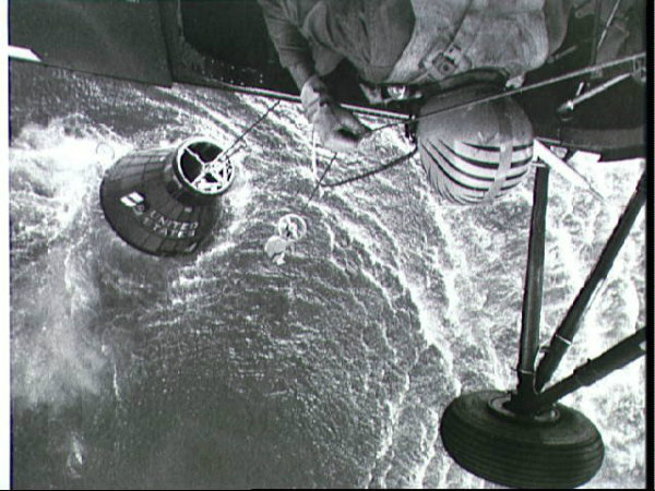 Attempted Recovery of Mercury spacecraft at end of