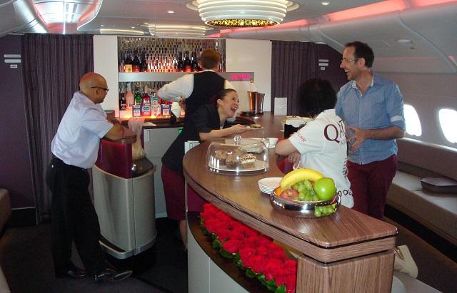 Qatar A380 biz lounge