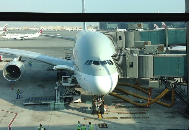 QR A380 on gate