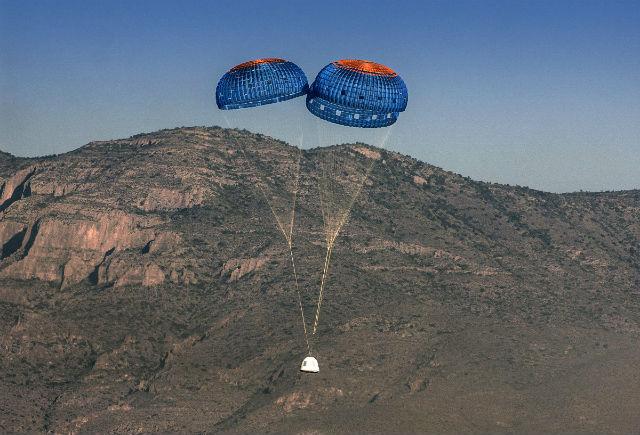 Blue Origin BE-3 capsule descent