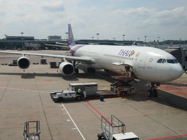 Thai Airways A340-600 at Singapore Changi airport