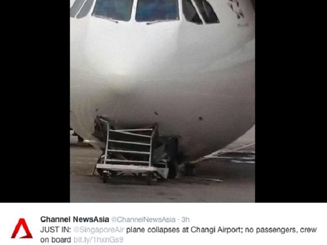 SIA A330 Nose Gear Collapse 1