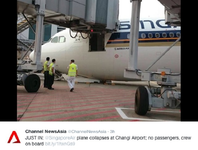 SIA A330 Nose Gear Collapse 2