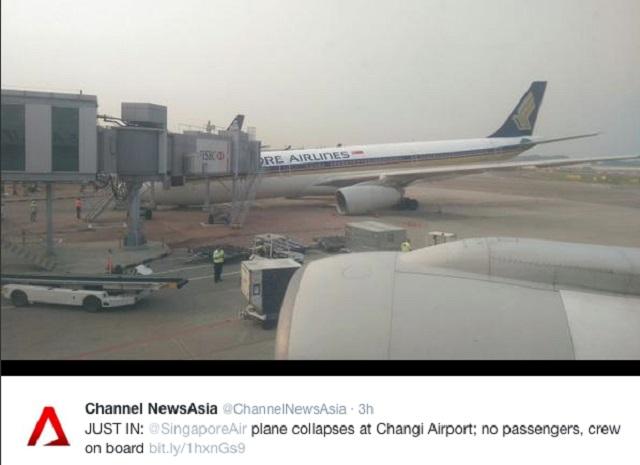SIA A330 Nose Gear Collapse 3