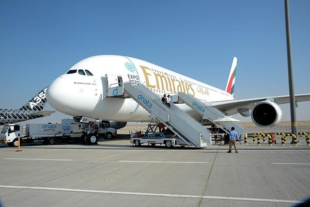 Emirates A380 at the Dubai air show 2015
