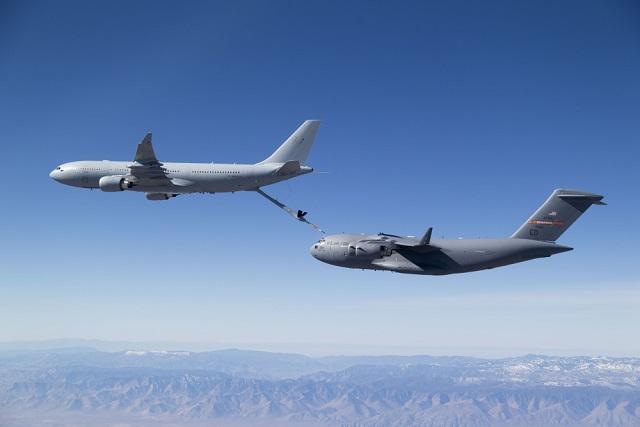 RAAF KC-30A refuels USAF C-17A