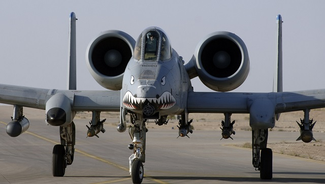 An A-10 Warthog prepares to take off from Al Asad