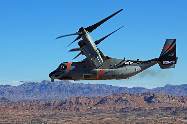 Bell-Boeing V-22 fires weapons. Bell-Boeing Image