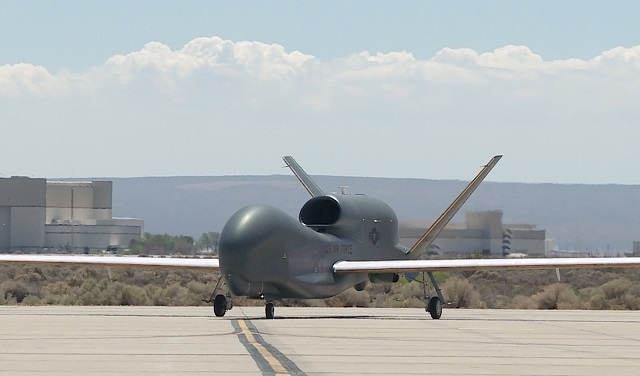 A Global Hawk remotely piloted vehicle taxis on th