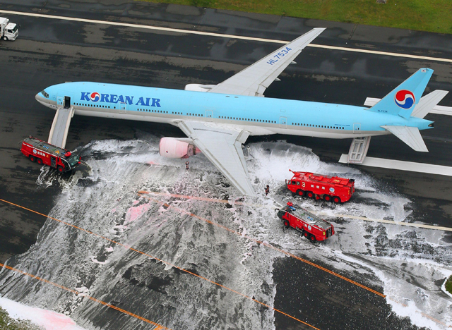 Korean Air 777 engine fire