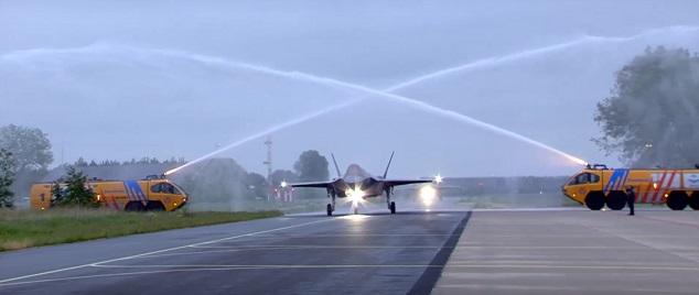 RNAF Lockheed Martin F-35s arrive at Leeuwarden Ai