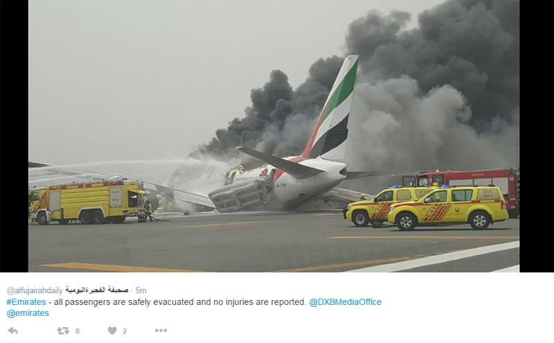 Emirates 777 crash landing Dubai