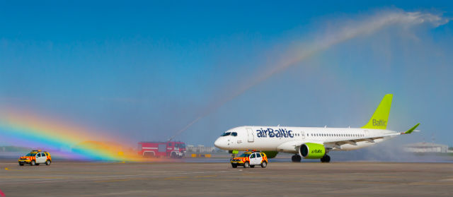 Air Baltic CS300 in Moscow 1 with rainbow