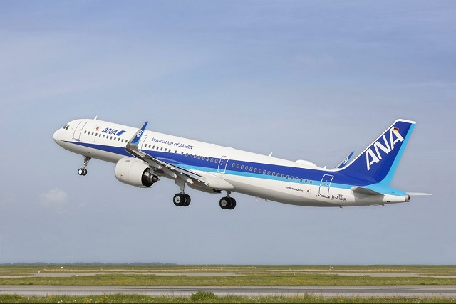 ANA A321neo on takeoff